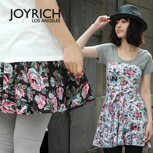 "A ""No1"" X bellyband style high waist skirt of the departure from LA JOYRICH familiarity of classical large floral design! In an elastic jersey material as for the comfort raise of wages tunic ◆ JOY RICH (Joey Rich) of the perfect score: Antique"