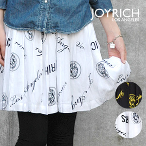 The high waist miniskirt that the alphabet and the print of the lion get a lot of looks conspicuously! ◆ JOY RICH (Joey Rich) precipitate to a senior stylish in the VERSUS logo pattern bottoms of the wide rubber waist: ☆☆ logo print gathers pleated skirt