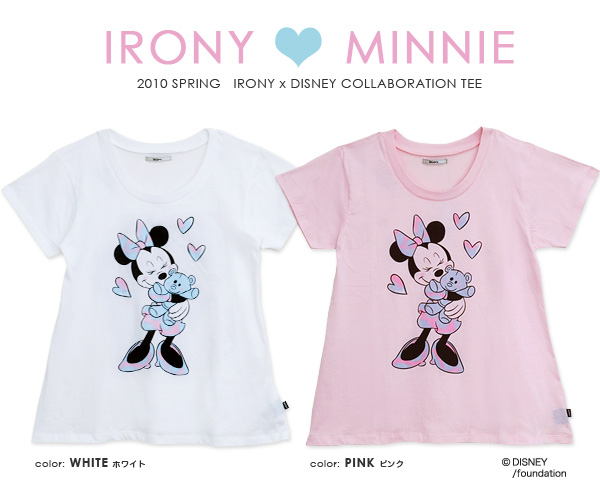 Buzz irony that collaborated with Disney minnie-Chan t-shirt! Girly pastels and A line short sleeve tunic Tee ◆ irony (irony irony) :disney×irony スプレーペイントミニー mouse T shirt