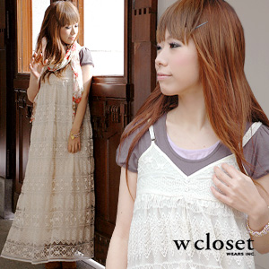 ●●A forest girl of the rumors is a thing of the hand, too! The maxiskirt one piece of the atmosphere that a total race with the translucency that I used luxuriously is refined, and is natural! Long skirt ◆ w closet (double closet) where the lengthwise si