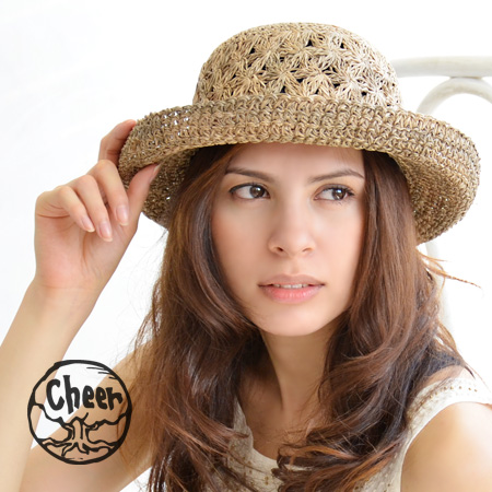Cool natural New York Tubas hats UV protection! Natural is hand-made HAT with grass! Coming this year is phosphorus Carl tuba Ver... ♪ / Ribbon/UV protection / Tan / awnings / straw hat wind ◆ cheer ( cheer ) シーグラ skarl Hat