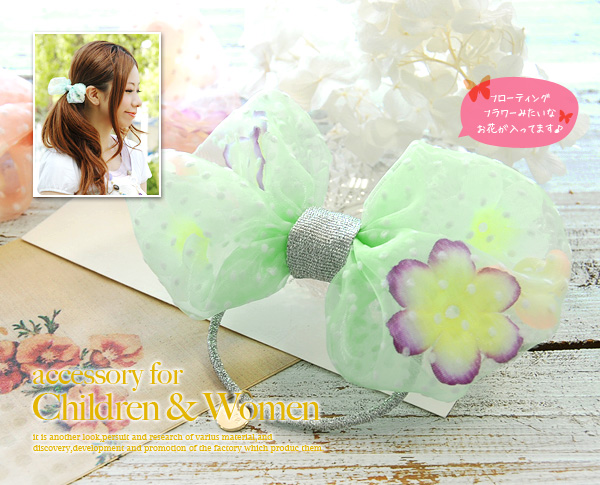 Dot pattern りぼん hair accessories full of the translucency that shut in an artificial flower to organdy! Big ribbon pony ◆ fafa (feh feh) which is cute as a substitute for the bracelet to finish it of the hair arrangement: VERA aloha peace soft and fluffy