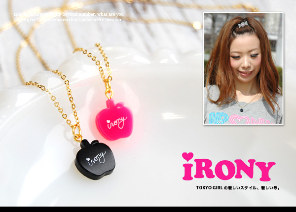 The acrylic charm necklace of the mini-apple which irony LOGO was written! Casual girls lock taste apple pendant ◆ irony (irony) of a good delicate gold chain of the skin familiarity: irony apple pendant