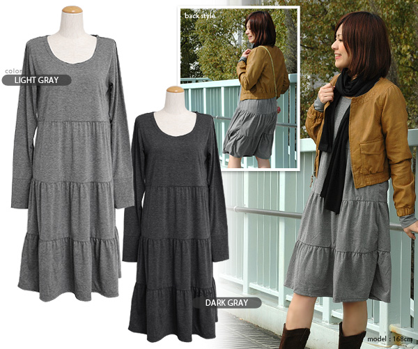 "The long dress which is good to you who feel that the maxi length is long! Simple long sleeves cut-and-sew dress ◆ ティアードプチマキシ length dress of the long skirt length that the coordinates that were unusual to a weapon by ""the length"" that was not possible c"