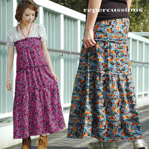 The colorful floral design 2WAY dress which becomes the skirt which the feeling creates gaiety to with a bright color! Resort wind long skirt ◆ repercussions (リパークションズ) which popular maxi length skirt and two kinds of how to wear halterneck dresses can e