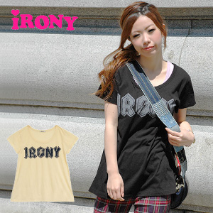 "● ● heavy metal band Tee reminds me like ""irony"" logo cool girly a-line silhouette in the finished short sleeve shirt! Rockin' hoarse print atmosphere ladies long length highvoltage tee ◆ irony (irony irony): HighVoltage irony ロゴチュニック T shirt"