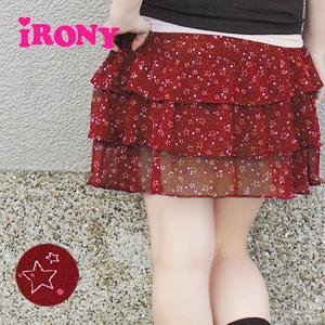 ティアードミニ skirt luxury like silk chiffon fabric matched the original pattern! Randomly scattered stars and dots design! Star˙ tiered skirt ◆ irony (irony irony): スターシフォンエアリー ruffle skirt