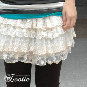 Romantic ティアードミニスカート where Tulle race of the floral design overlaps! Embroidery tutu skirt ◆ zootie (zoo tea) of the magic that changes it into the girly wearing that is good to forest girl coordinates: Flower Tulle race tiered skirt