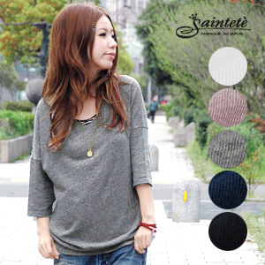 Good-quality relaxation wear of adult! A dolman sleeve style tunic of the elastic very soft gauze T-cloth material! Cotton plain fabric three-quarter sleeves light pullover ◆ Saintete (sun Tete) toward the sensitive skin made in recommended light Japan: