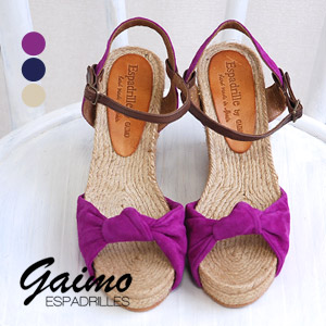 GAIMO wedge sole sandal appeared again this year! With a storm of bare feet feel good ジュートソール プラットフォームウエッジヒール / leather ◆ Espadrille by GAIMO ( エスパドリーユバイガイモ ) :NURI スエードリボンエスパドリーユ sandals