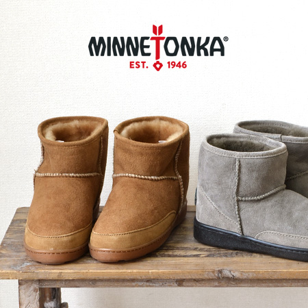 Ankle length mouton boots ANKLE HI PUG BOOT slip-ons sense ◎ sheep leather genuine leather rial leather ankle boots pug boots handmade boots leather ◆ MINNETONKA (Mine Tonka) of Mine Tonka Mine Tonka: Sheepskin berry bootie