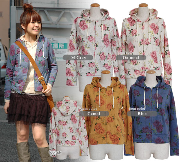If it is up-and-coming large floral design, the casual parka is so gorgeous! Short blouson ◆ w closet (double closet) with the long sleeves food of a feeling of cloth such as the waffle that a nostalgic rose illustration was printed: Real Rose zip up par
