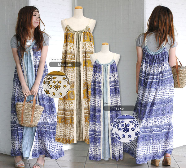 The gangs different adults face ethnic pattern race maxi dress that a three-dimensional design and silhouette are excellent! Relaxation whole pattern long camisole dress ◆ w closet (double closet) that a feeling of omission is unbearable: Patchwork flowe