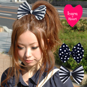 The summer ribbon pony that an adult of the LARA & heart that performed topping of waterdrop & stripe cutely is cute! ◆ Lara & Heart (LARA and heart) to be able to use as a bracelet even if I transform myself with the ribbon hair accessories