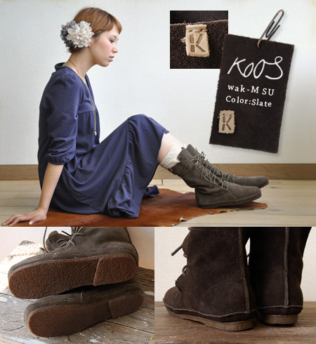 Real leather handmade ぺたんこ boots only using a nature material! /color, 36 37 38 39 40 dawn Dawn slate slate /size35 41/ down / rate ◆ Koos (course): wak-M SU wax aide leather race up middle boots