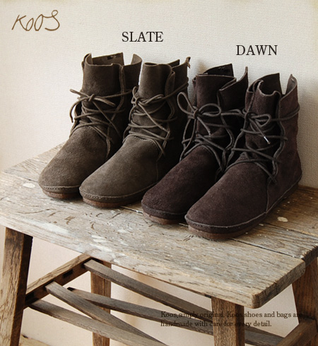 Leather using only natural materials with soft handmade pettanko pettanko boots! /color:dawn dawn slate slate /size:35 36 37 38 39 40 41/down/slate ◆ Koos (course) :wak-S SU ワックスエードレザーレースアップ short boots
