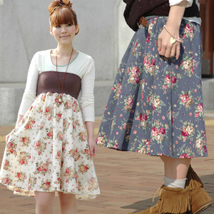 Antique roses flare skirt wear bare top piece as skirt ◆ rose garden haramaki scared one piece