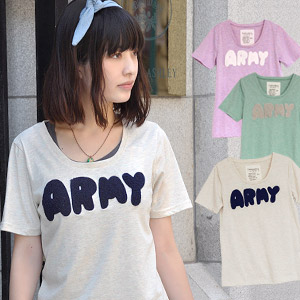 All over girly girl for Army logo Tee / women's short sleeve T shirt / sewn / long-length / pastel colors / casual Gary ◆ this ARMY remix tee