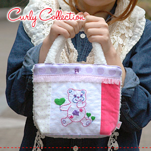 A mini-handbag bag of the popular heart base-up embroidery! Boa + clear button points mini tote bag of the dot pattern! ◆ Curly Collection (Carly collection) recommended in a subbag and a lunch bag: sophie mixture fabric mini-tote bag [heart base-up X wh