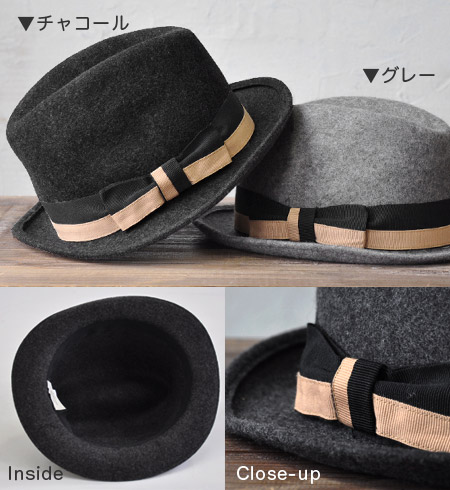 Handmade soft cap / wool 100% of Italian well-established hat brand Rebecca / felt / classical / mannish / retro / monotone / fall and winter accessory / melton ◆ Rebecca (Rebecca) evaluated throughout the world: Two-tone grosgrain ribbon felt soft felt