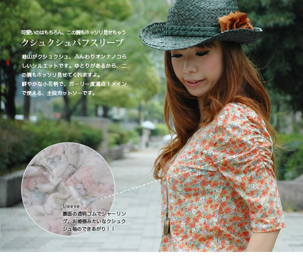 Cute small floral design seven minutes sleeve transformation puff sleeve tunic Tee where heart beats fast with! Add trendy & sinter in a vivid whole pattern power shoulder type T-shirt, and acquire a difference; ◆ w closet (double closet): フルーツフラワークシ