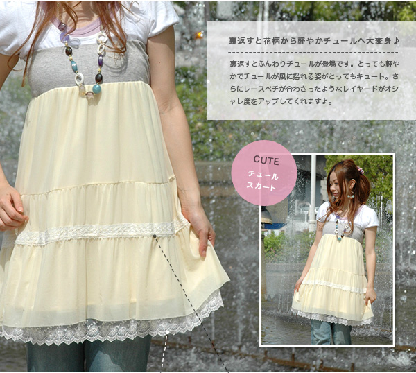 It is totally an actress! As for the table, NATURAL flower skirt, the back are CUTE Tulle skirts! Scallop shell race knee length almighty skirt ◆ MAGIC reversible flower & Tulle 2WAY skirt that the base-up top petticoat messenger can do more belongin