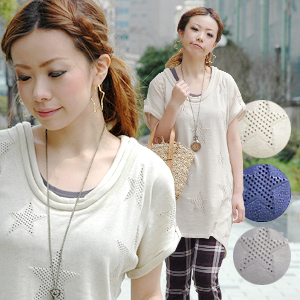 The short-sleeved summer knit one piece without the difference between the mood that star-shaped openwork was given rising! Roll neck and turn up-like short sleeves considered to be it are knit one piece in product made in Japan pullover tunic ◆ lucky st