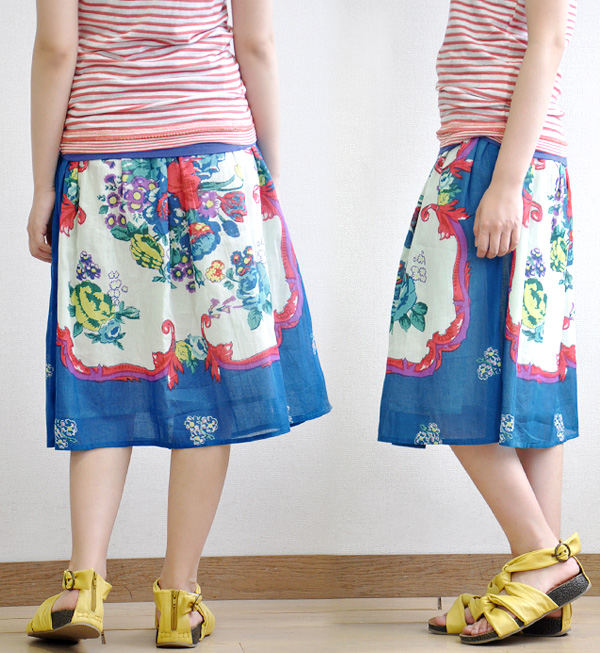 Elegant beauty a beautiful painting, a nice scarf and taping their ethnic big skirt! as ベアトップチュニック India cotton bottoms / MIDI-length / lenght ◆ ラヴィッサンフラワープリントロングスカート