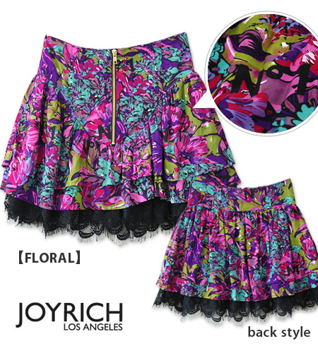 The goblin high waist skirt which I charm you in the ティアードミニスカート ♪ black race of No. 1 beautiful floral design X cool logo, and a gold zip shines in! /Lavished FlillSkirt/ exotic / back aboriginality /fs3gm ◆ JOY RICH (Joey Rich): ラビッシュドフリルスカート