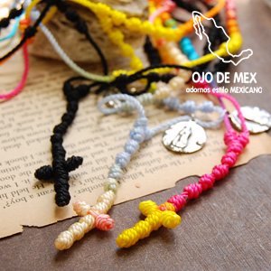 Rosary style incorporates the smell of Mexico featured brand 'オホデメックス' long necklace! Colorful pendants can be with Maria charm bracelet woven cross ◆ OJO DE MEX ( Ojo de MEX ) :Mexican Rosario