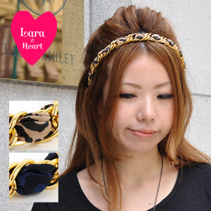 Katyusha turban / hair accessories / leopard pattern / animal pattern / hailstone pattern ◆ Lara & Heart (LARA and heart) with adult panther pattern headband / rubber of the LARA & heart that added a gold chain to the レオパード pattern: レオパードヘッドバンド