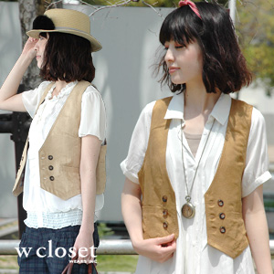 The checked pattern lining suede cloth-like short best featuring wet feel of a material! As for the mountain girl excellent at the affinity with the maxi length dress purveyor western gilet ◆ w closet (double closet): トラオムフェイクスエードショートベスト