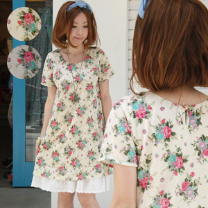 Adults will say, Cute Girly big floral print belted ♪ lined with is one piece that can be worn! Pocket or tears open also points an elegant rose pattern PTI price short sleeves A line tunic ◆ let rose one piece