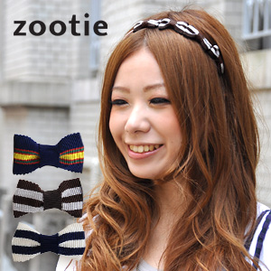 Ribbon Katyusha / our store original hair accessories / grosgrain りぼん / adult girly / on the small side / slim / delicateness / asymmetric / Malin / preppy ◆ Zootie (zoo tea) which slightly bitter horizontal stripe ♪ Bali adult woman looks good with: Can