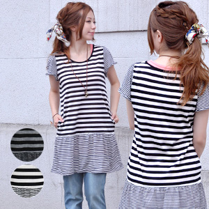 Horizontal stripes dress of the accent pride not to fail in the ♪ absolute that does not become monotonous by two kinds of good horizontal stripe errands! 2 ◆ pace horizontal stripe tunic one piece with the / short sleeves / fine horizontal stripe / deep
