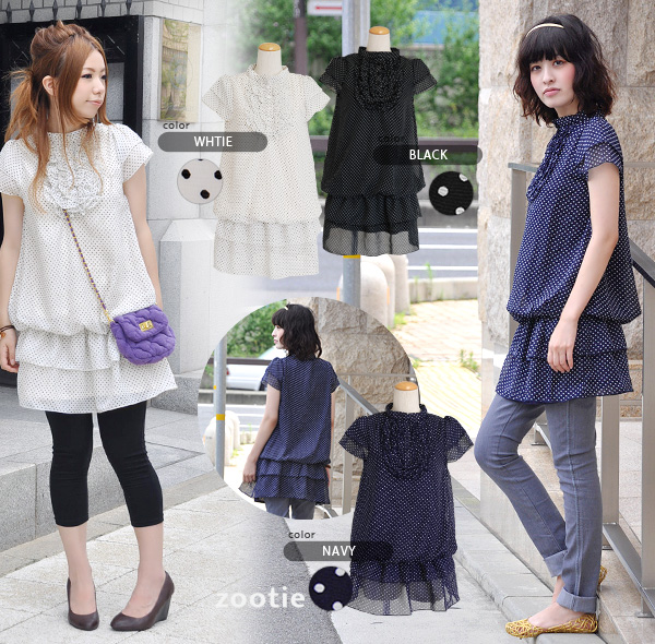Waterdrop one piece / pin dot pattern / waterdrop pattern / cap sleeve / tiered sleeve / short sleeves / tiered skirt / browsing tunic ◆ Zootie (zoo tea) which I finished by the chic color that was indispensable to an adult girly: Creep dot frill stand c