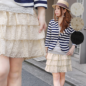 It is totally the knee-length affordable price skirt of the pretty rale race such as the flower garden total race tiered skirt ♪ it is natural, and to be able to wear! Can wear it refreshingly without being too sweet because is cotton; and as a petticoat