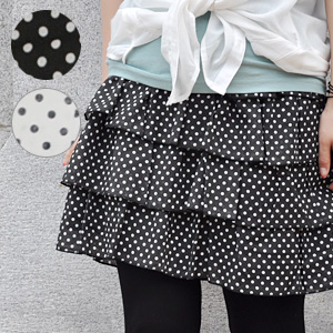 100-percent-cotton breadth waist rubber miniskirt ◆ みずたま コットンティアードフリルスカート which is convenient to a petticoat refreshing tiered skirt ♪ enjoying a basic dot pattern with cotton is natural, and to be familiar with casually