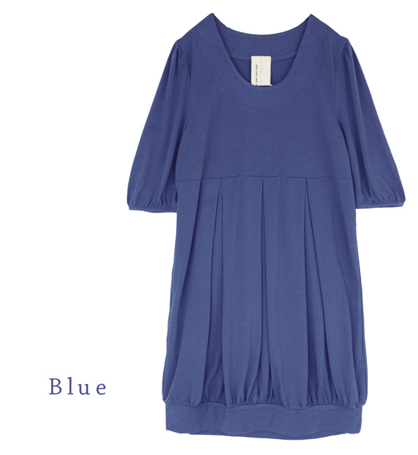 As a maternity wear a topic! Gathers cocoon balloon tunic / figure cover / plain fabric cut-and-sew / maternity dress / short sleeves puff sleeve ◆ zootie (zoo tea) of the silhouette slender as for anyone: Fool tuck puff sleeve dress
