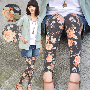 Protagonist of the large flower print leggings errand girl flower. wear comfortable, stretchy, presence, all outstanding! Fascinated by the girly times 5%, increasing in that flower pattern 10-Length spats / accessories / footaxesally / full length / ros