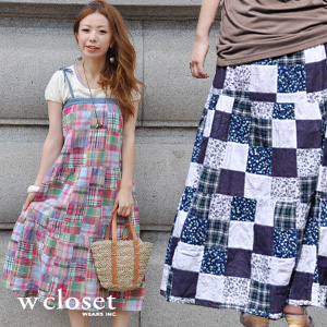 Cute Madras checked pattern & handmade product style maxi dress / long skirt / base-up dress / halterneck ◆ w closet (double closet) of the chic floral design: Multi-patchwork 2WAY ティアードマキシ length camisole dress