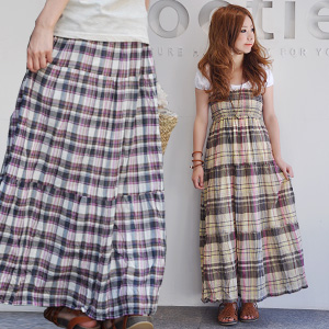 Maxiskirt length キャミワンピース & raise of wages one piece & long skirt / maxiskirt one piece / long one piece / raise of wages top one piece / tiered skirt / Ron ska / natural ◆ ステラマドラスチェックティアード 2WAY skirt of the Madras checked pattern to show power i