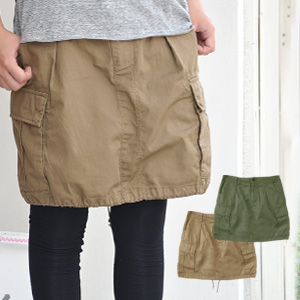 Feels like a trapezoid skirt cool & cute military knee-length cotton skirt enjoying a balloon skirt ♪ dates & leash length adjustment also lectin! / washed / loose / knee-length ◆ ヘムアレンジバルーン 2-WAY ツイルカーゴ skirt