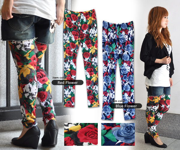 Luxurious leggings of fascinating Rose that the contest of a luxurious flower is dazzling! If, with a presence size, wear it; higher-grade coordinates are enough length / long length spats ◆ pop Arty stick Rose leggings naturally length / for completion