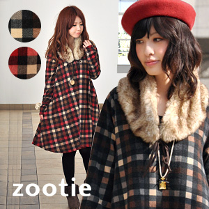 Leading cheek I lump block check pattern A line one piece & fluffy ファーティペット set ♪ ニットソーチュニック / sewn / long sleeves in excellent touch ◆ Zootie ( ズーティー ): A line one piece dress with a ファーティペット block check