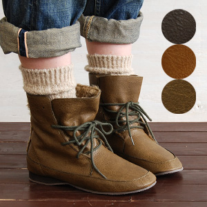 The basic short length race up boots are fur きがおすすめ belonging to this year! 2WAY inside boa boots / mouton style / moco moco / bulky / fake leather / 合皮 / ぺたんこ shoes / ankle boots ◆ inside fur race up bootie to be able to wear even if I turn it down