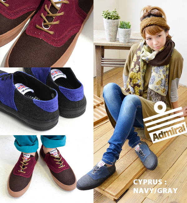 Walk attractive smart form reminding of the saddle shoes which gave the by color low-frequency cut sneakers medallion which is men's like of the sneakers felt X suede and lady's fashion shoes ◆ Admiral (admiral) CYPRUSII which breathes it, and does not h