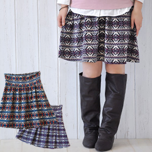 Feeling of knit flare skirt ♪ raising がありほっこり whole pattern drape miniskirt / waist rubber /A line / colorful / ethnic bottoms ◆ アフリニットギャザースカート in charge of the folklore & accent color it is worn, and to be able to wear like an adult in the pattern t
