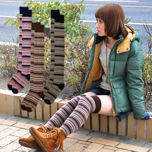 Socks is a nice person is a fashion expert! Transforms into style this year with one ♪ show flickering from the can because of longer-length boots or wear rumpled, • active leading footwear and women's apparel ◆ ノルディボーダーオーバーニー socks