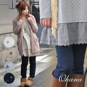 The four leaf clover pattern cotton race reshuffling tunic of the ナチュ かわ representative! Even as for the leading role to an inner ◎ / petticoat / petticoat dress / punching embroidery / heart style four leaves / long sleeves ◆ ohana (オハナ): Petit clover b